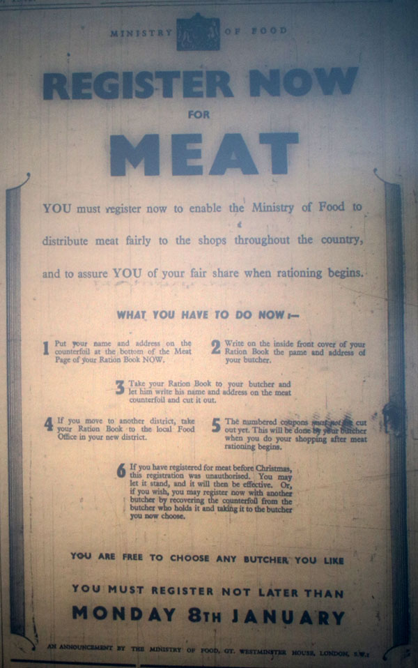 Register for Meat Notice on January 6th, 1940.