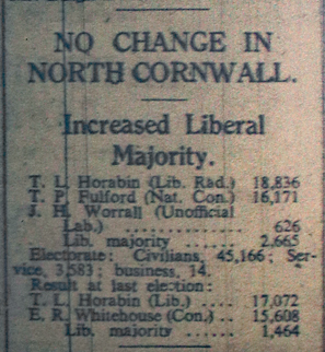 1945 North Cornwall Election Results.