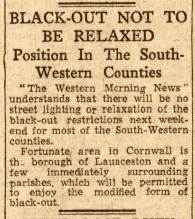 Black-Outs to be relaxed in Launceston District September 12th, 1944.
