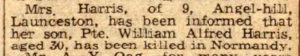 Death announcement of William Harris Friday, July 14th, 1944.