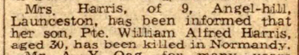 Death announcement of William Harris Friday, July 14th, 1944