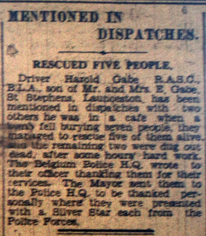 Driver Harold Cabe, Mentioned in Dispatches, January 1944