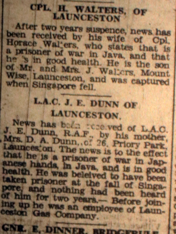 Launceston POW's February 1944