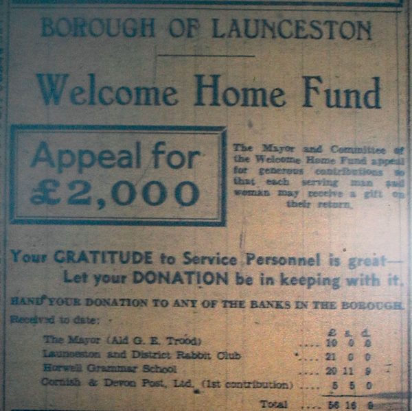 Launceston Welcome Home Fund, March 1944.