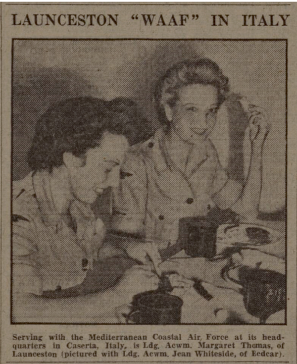 Ldg. Acwm Margaret Thomas at the HQ of the Mediterranean Coastal Air Force, September, 1945.