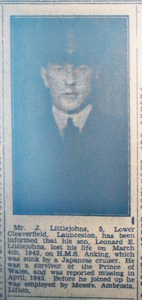 Leonard Littlejohns death notice, December 1945.