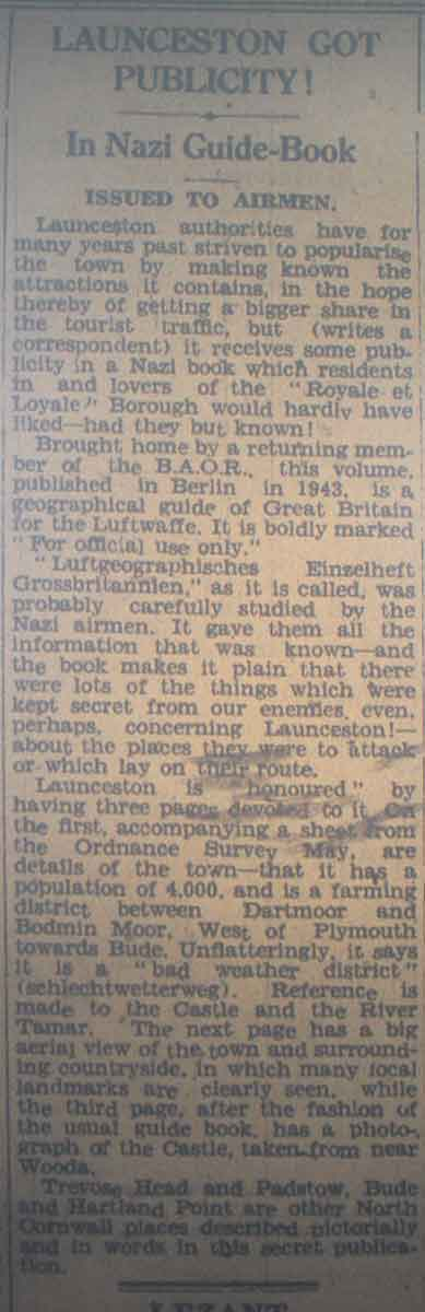 Nazi guide book article from the Cornish and Devon Post.