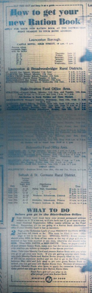 New Ration Book Application, May 1945.