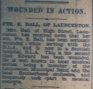 Private E. Ball wounding notice February 1944.