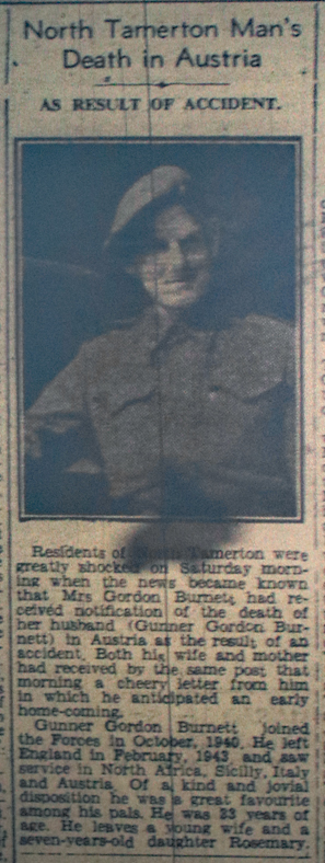 Private Gordon Burnett's Death, July 1945.