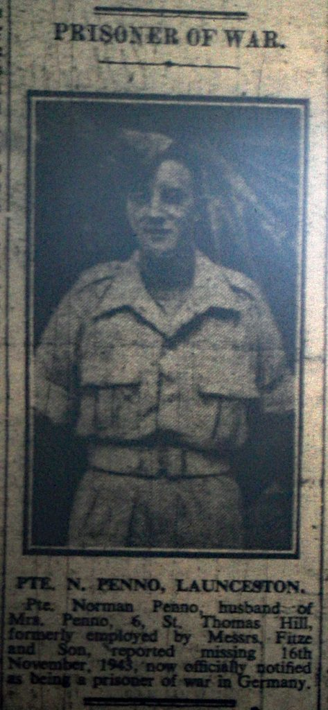 Private Norman Penno POW January 1944.