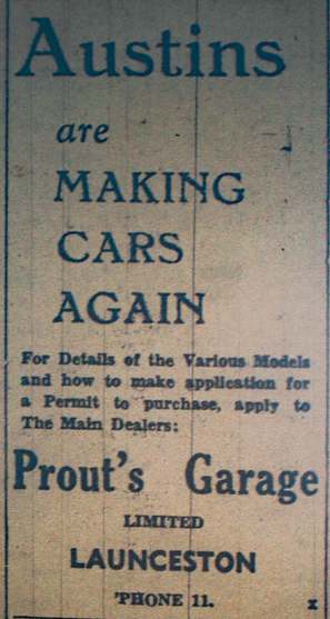 Prouts Garage Advert December 1945.