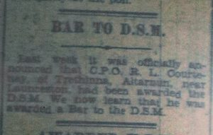 R. L. Courtenay awarded the D.S.M. June 1945.