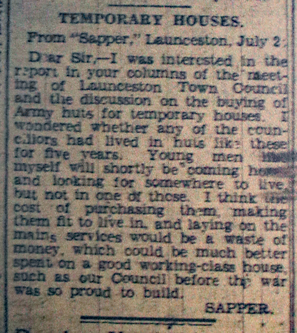 Temporary Homes Correspondence July 2nd, 1945.