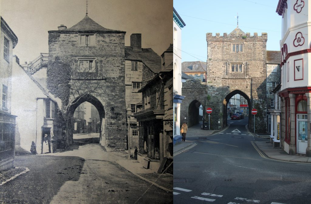 The Southgate in 1870 and in 2019.