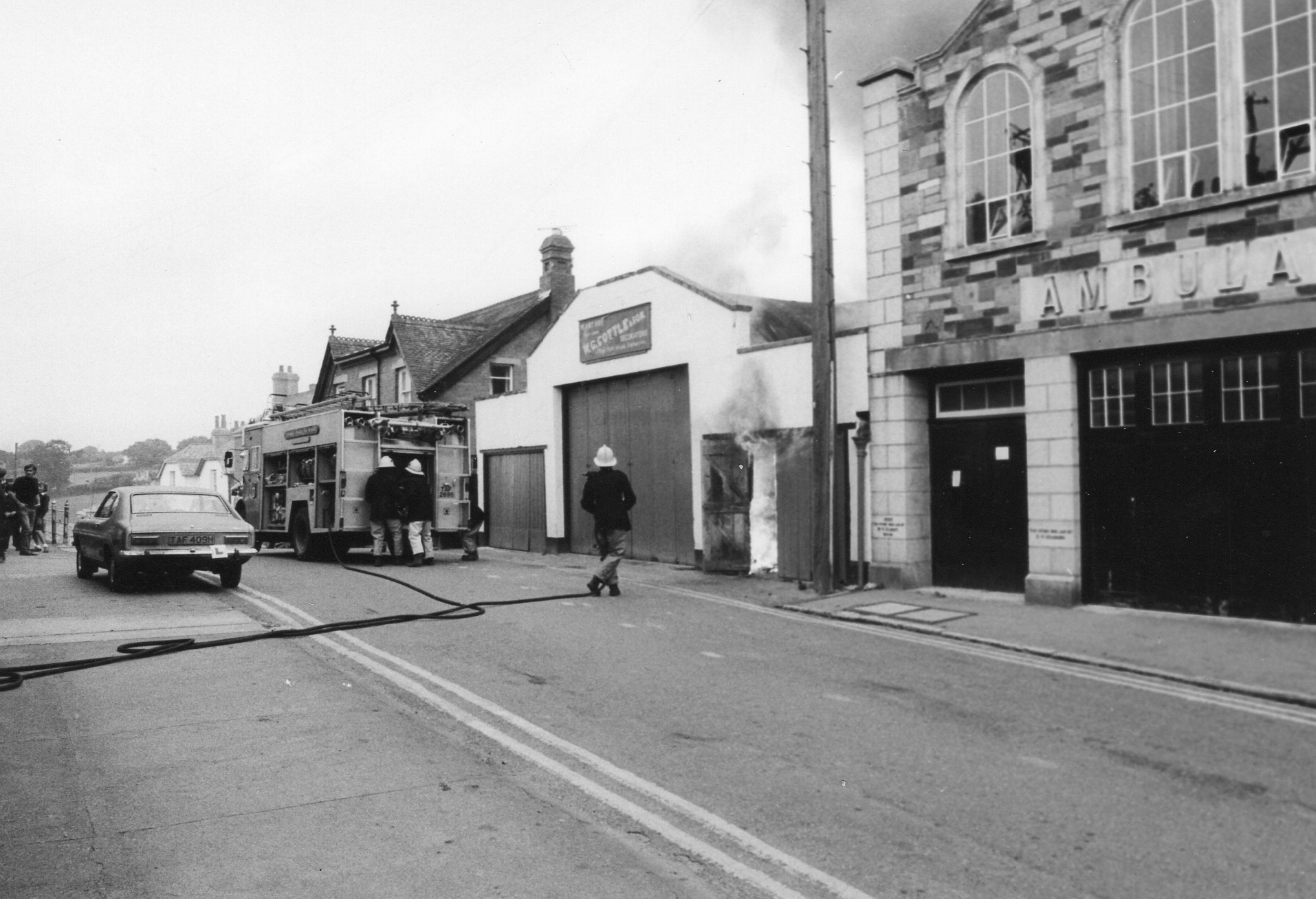 Fire at Charlie Cottle's Workshop in Westgate Street, June 17th, 1982. Photo courtesy of Gary Chapman.