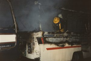 Coach Fire at Scarne on January 23rd, 1988.