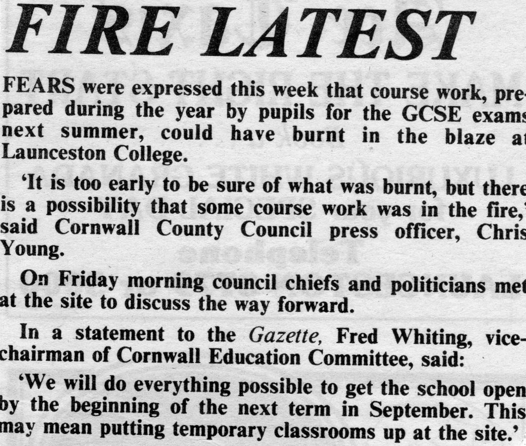 Launceston College Fire, August 3rd, 1988.