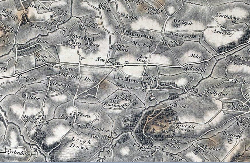 19th Century Map of Lewtrenchard