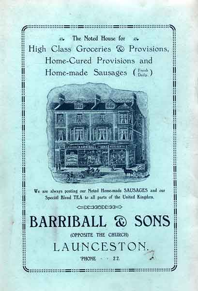 Barriball and Sons advert from 1928