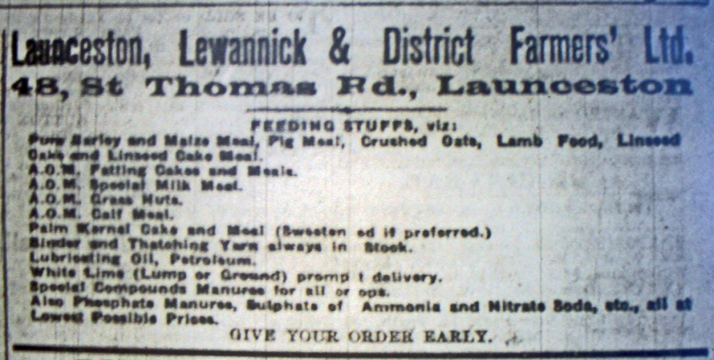 Launceston, Lewannick & District Farmers Advert from May 1925.