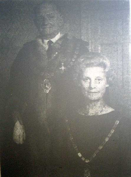 Daniel Carey Tolchard M.B.E and his wife after being chosen as Launceston mayor in 1967.
