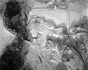 Aerial view of the earthworks of Lifton Quarry Lime Kilns 1959