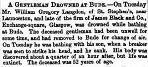 William Gregory Langdon death notice from 1867