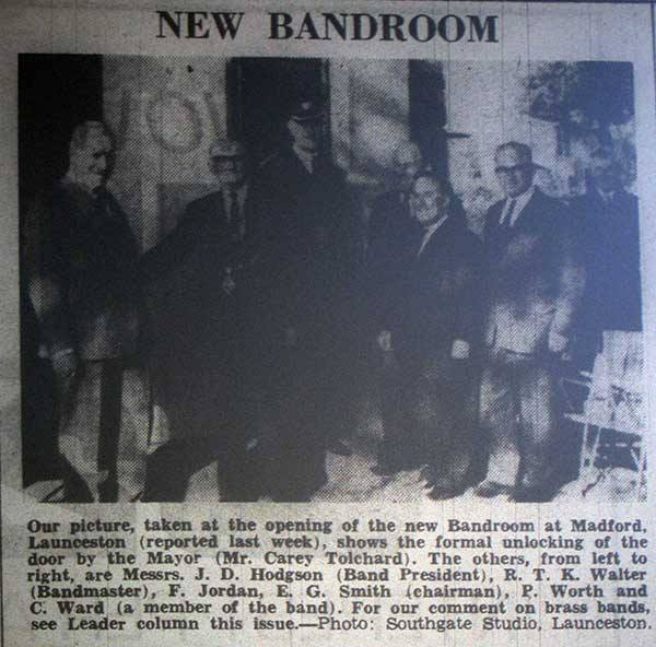 Launceston Town Band new bandroom opening in 1967.