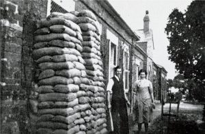 St. Mary's Hospital sandbagged up during the Second World War.