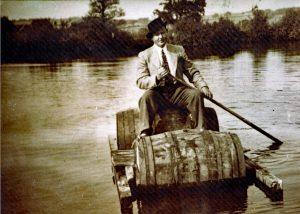 Gerald W. Congdon boating on the former Dutson brickworks pool
