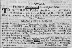 Lidcott and West Down End Mines Sales 1830.