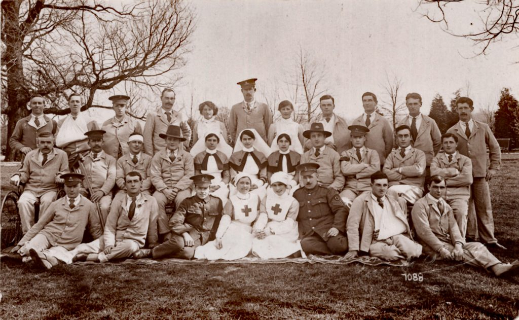Private Harold Broad of the Dorset Regiment 3rd on the left back row in hospital 1917.