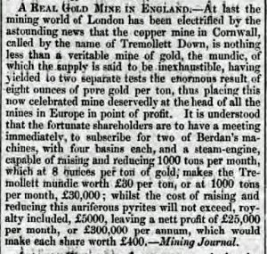 Tremollett Downs Mine, Mineral Journal Report, December 31st, 1853.