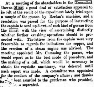 Tremollett Downs Mine Report Tuesday, January 17th, 1854.