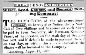 Wheal Lanoy report in the Royal Cornwall Gazette - Friday, August 18th, 1837.