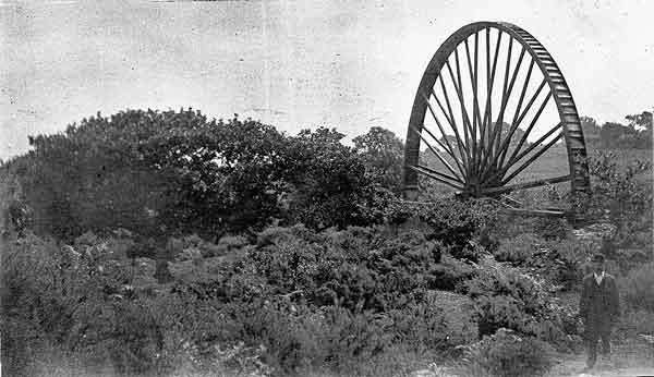 Treburland Mine water wheel in 1900.