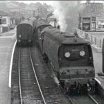 34072 begins to steam away from Launceston Railway Station in the early 1960's.