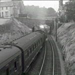 34072 steams away from Launceston Railway Station in the early 1960's.