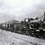 Adams 445 class 4-4-0 No 448 at the opening of Launceston and LSWR Railway Station in 1885.