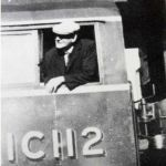 Retired driver Bill Cowling takes control of the he 'Launceston' Bullied engine in 1947.