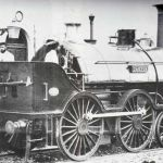 South Devon Railway No 2121 'Castor' at Launceston in the late 1860's. Its driver is Jameson Davies.