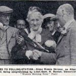 Bessie Skinner being takien to vote in the 1932 by-election.